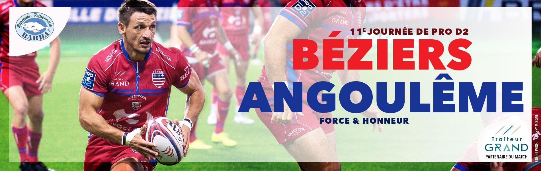 Image Billetterie prochain match à domicile : Béziers / Angoulême (15 nov. 20h).
